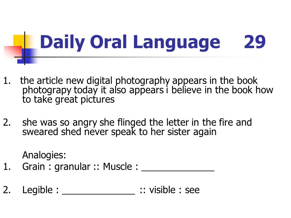 Daily Oral Language 29