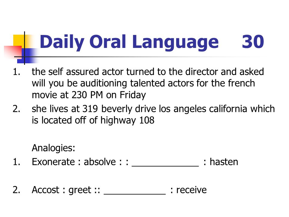 Daily Oral Language 30