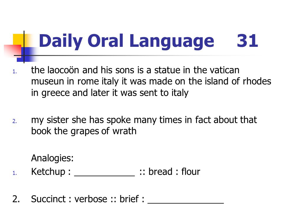 Daily Oral Language 31