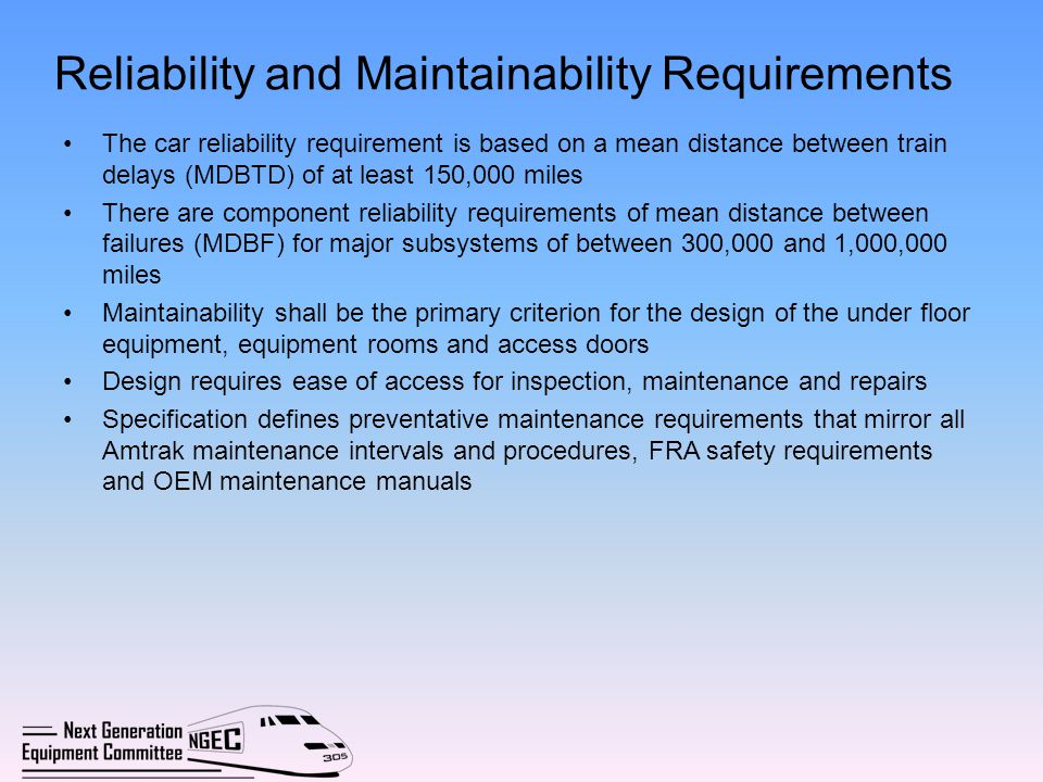 Reliability and Maintainability Requirements