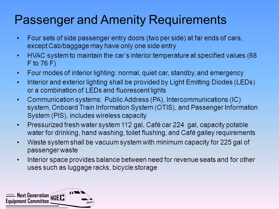 Passenger and Amenity Requirements