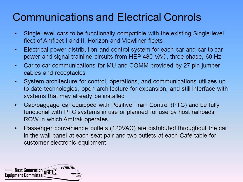 Communications and Electrical Conrols
