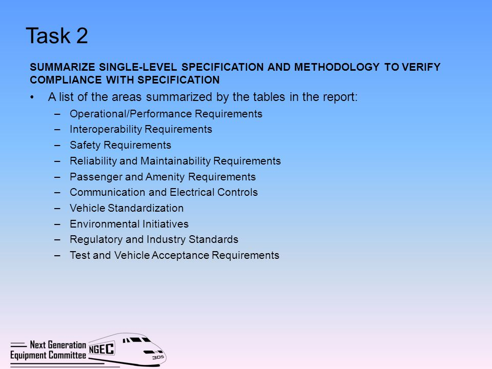 Task 2 A list of the areas summarized by the tables in the report: