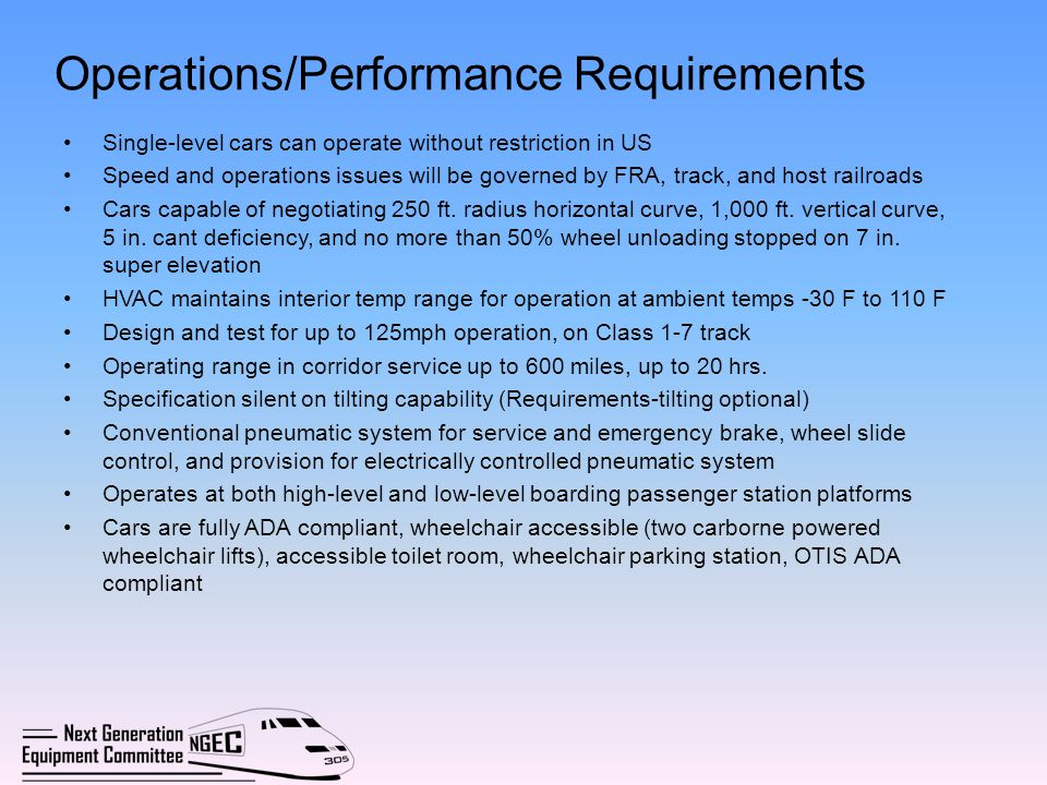 Operations/Performance Requirements