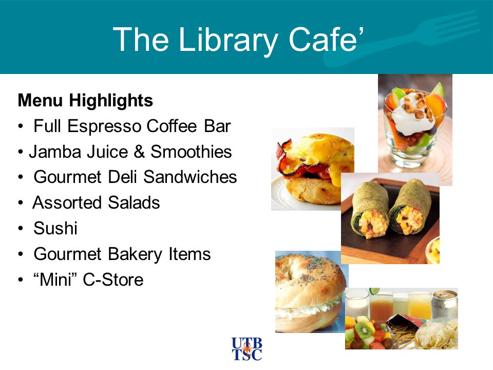 The Library Cafe' Menu Highlights Full Espresso Coffee Bar