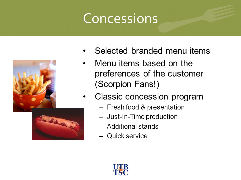 Concessions University Library Selected branded menu items