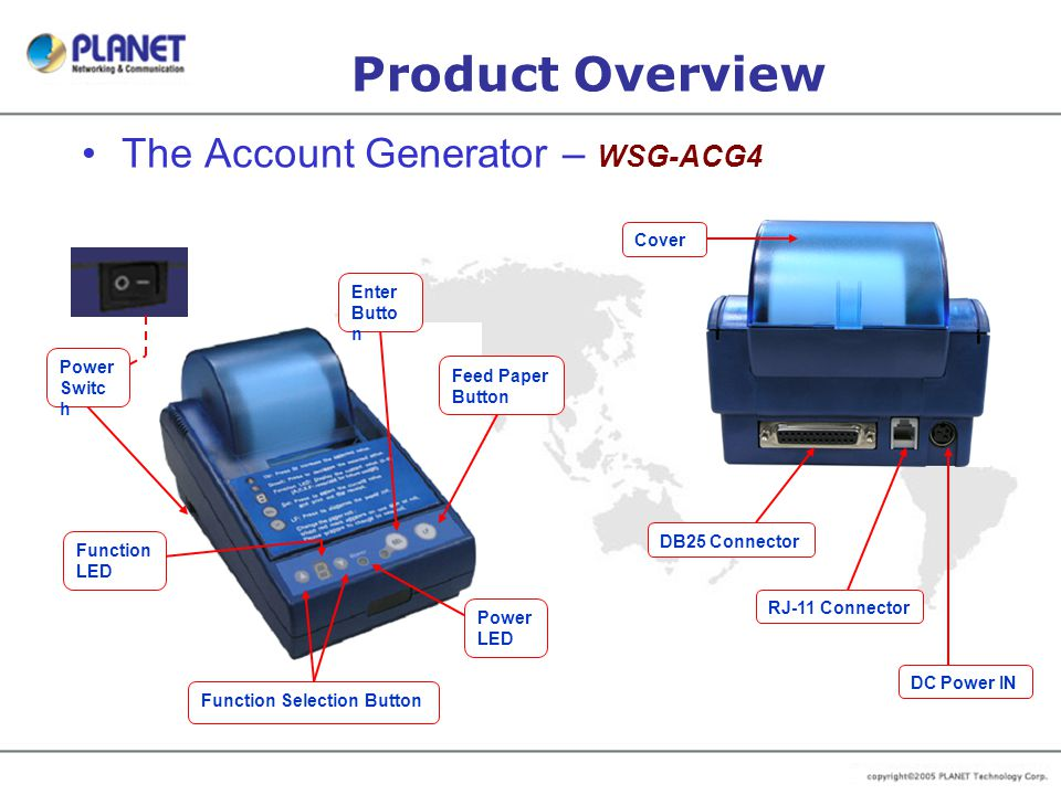 Product Overview The Account Generator – WSG-ACG4 Cover Enter Button