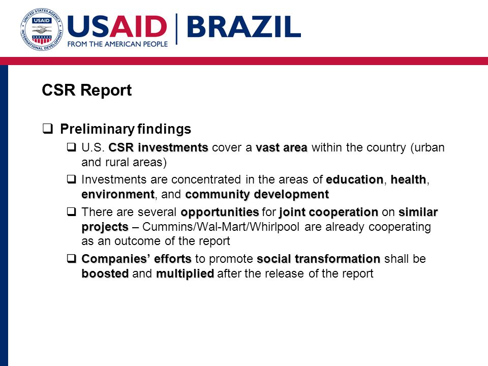 CSR Report Preliminary findings