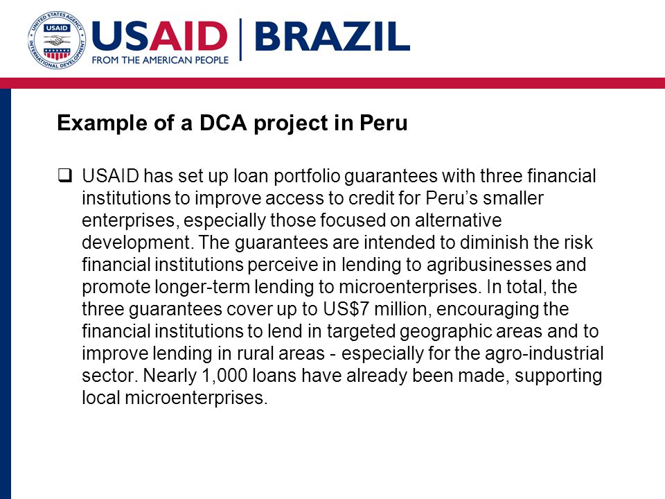 Example of a DCA project in Peru