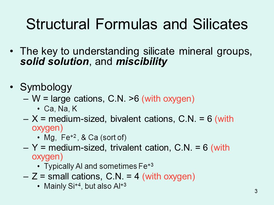 Structural Formulas and Silicates