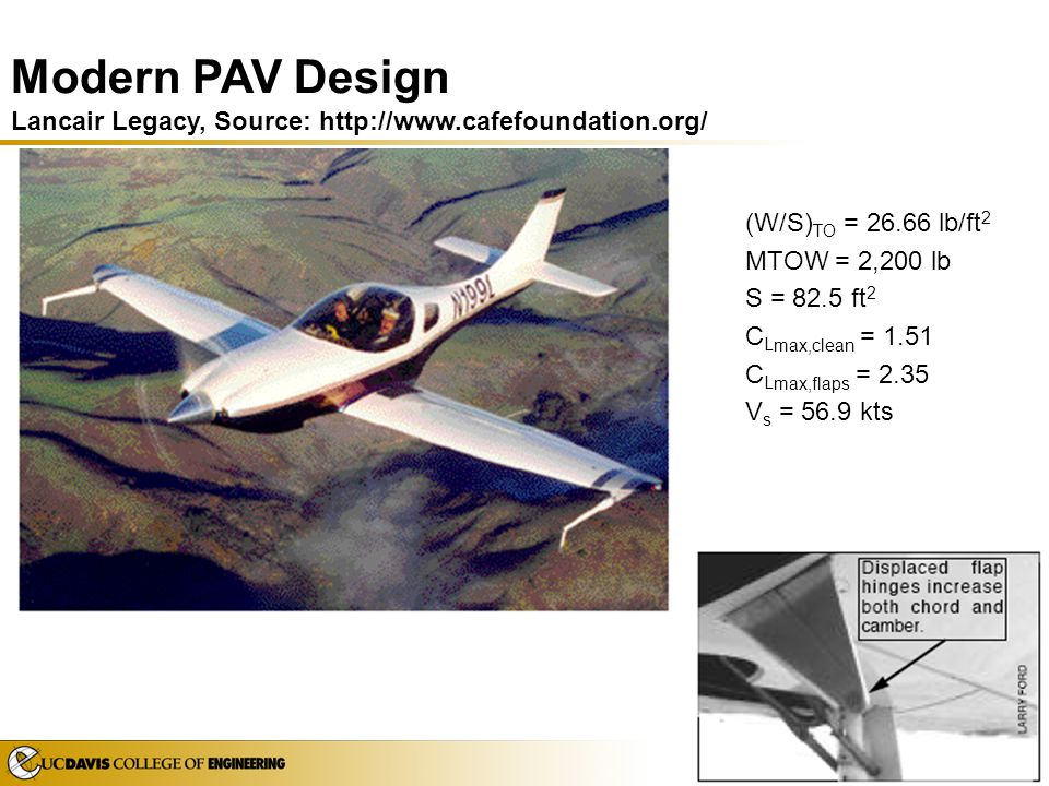Modern PAV Design Lancair Legacy, Source: http://www. cafefoundation