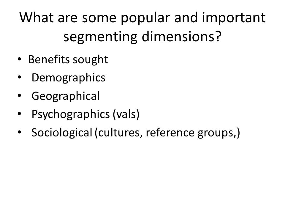 What are some popular and important segmenting dimensions