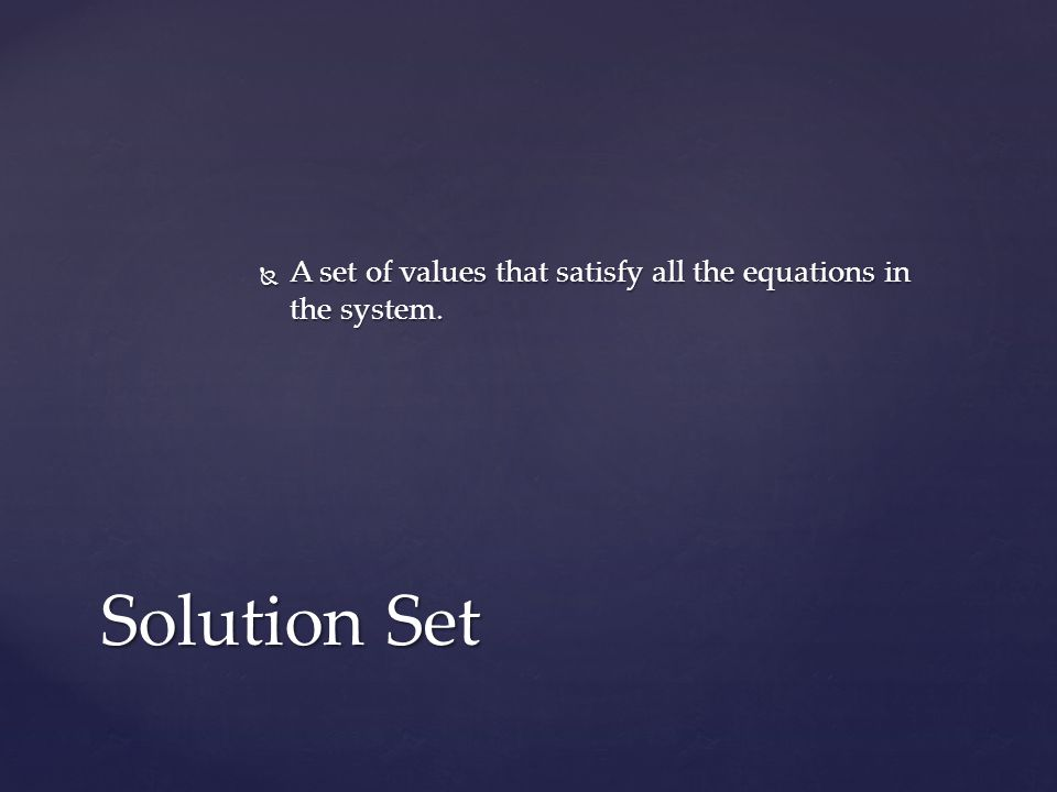 A set of values that satisfy all the equations in the system.