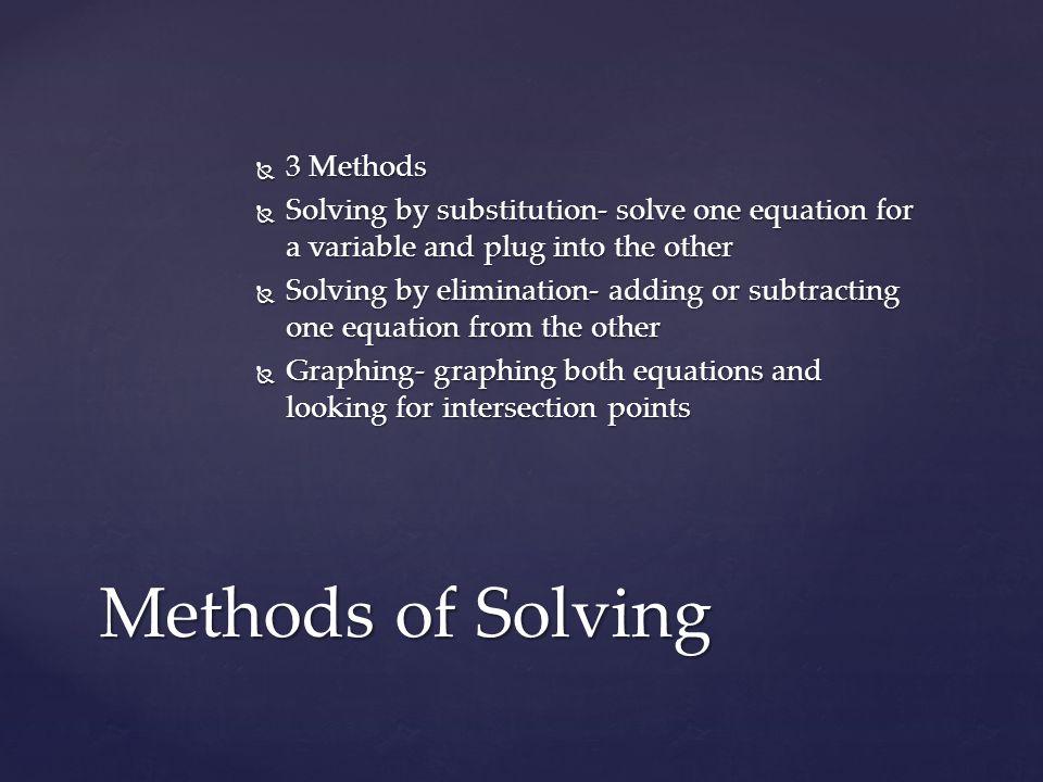 Methods of Solving 3 Methods