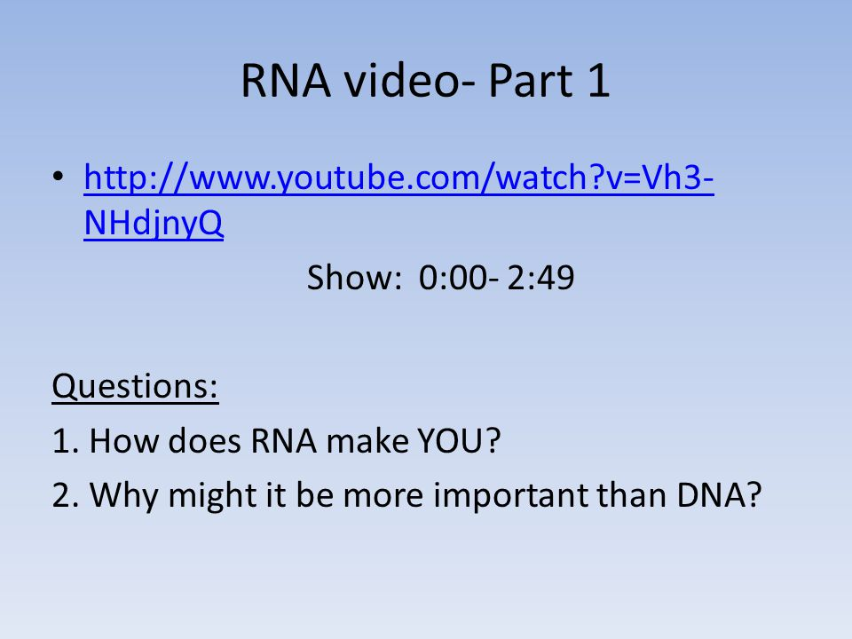 RNA video- Part 1 http://www.youtube.com/watch v=Vh3-NHdjnyQ