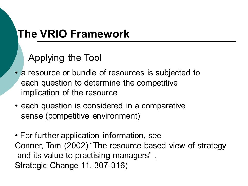 The VRIO Framework Applying the Tool