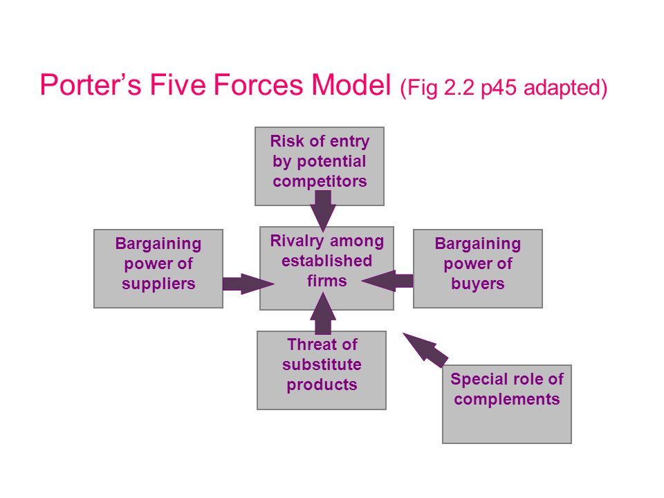 Porter's Five Forces Model (Fig 2.2 p45 adapted)