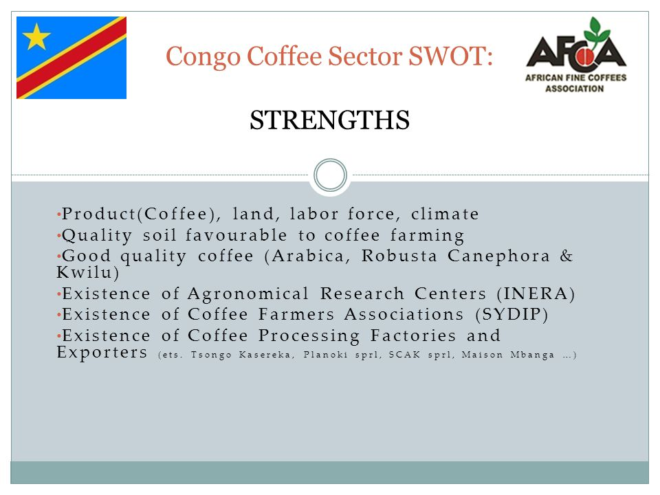 Congo Coffee Sector SWOT: STRENGTHS