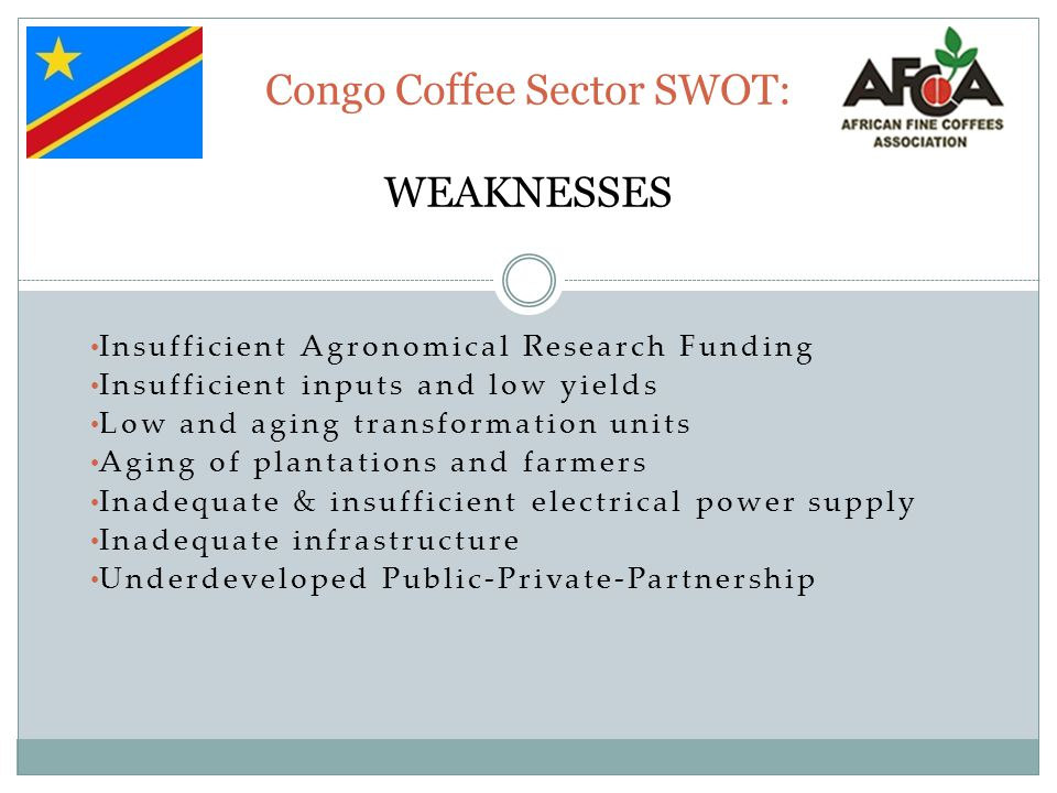 Congo Coffee Sector SWOT: WEAKNESSES