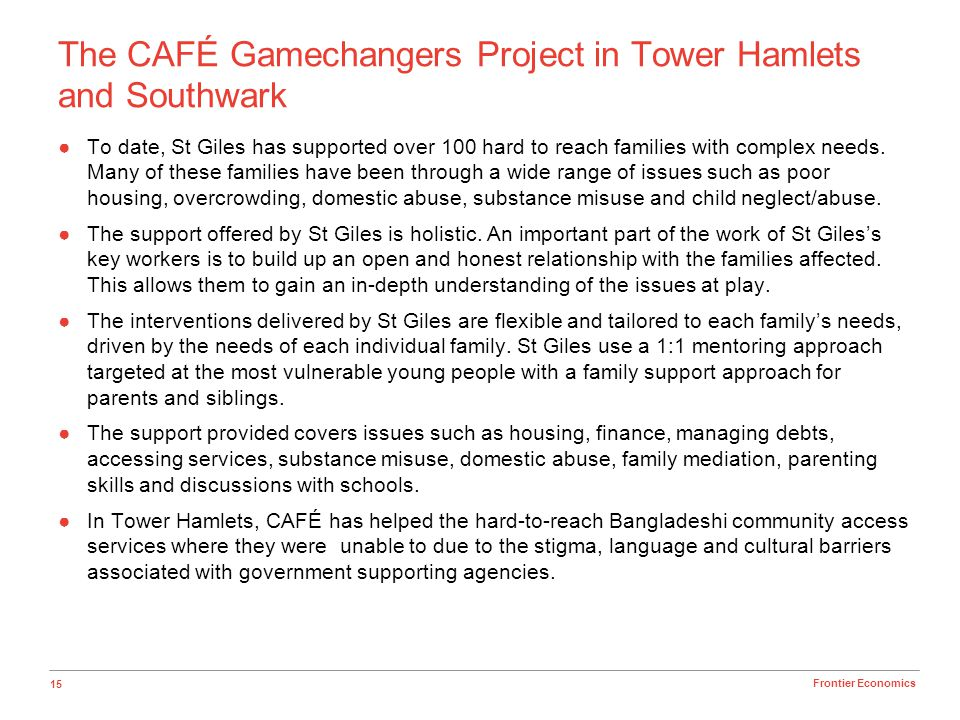 The CAFÉ Gamechangers Project in Tower Hamlets and Southwark