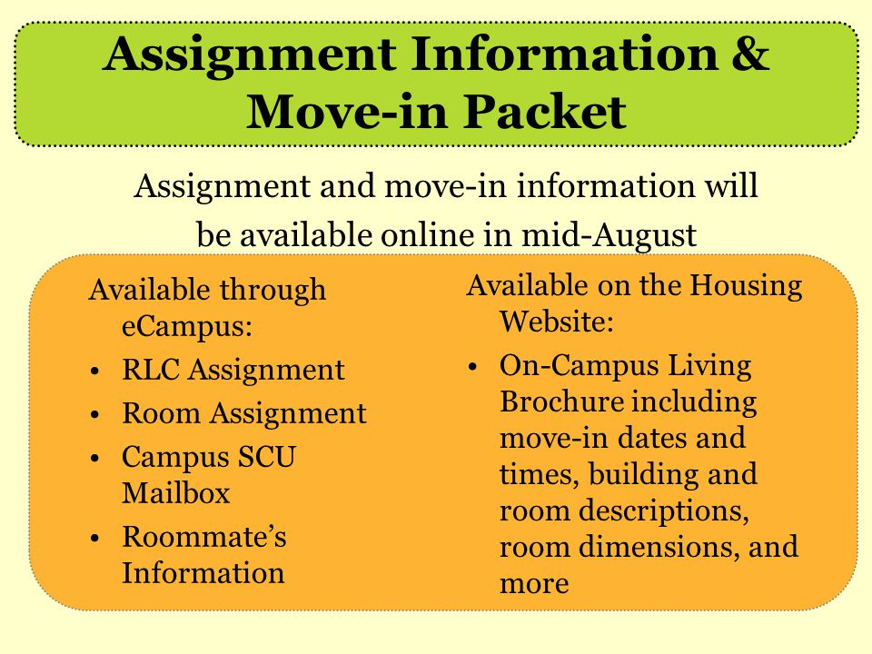 Assignment Information & Move-in Packet