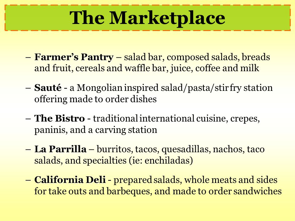 The Marketplace Farmer's Pantry – salad bar, composed salads, breads and fruit, cereals and waffle bar, juice, coffee and milk.
