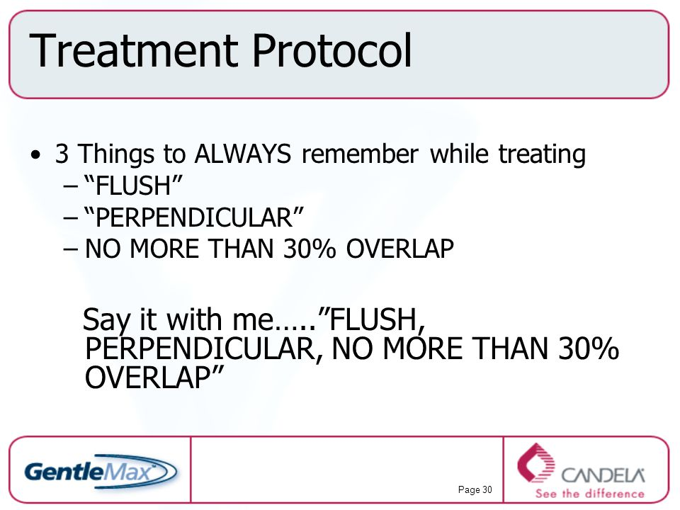 Treatment Protocol 3 Things to ALWAYS remember while treating. FLUSH PERPENDICULAR NO MORE THAN 30% OVERLAP.