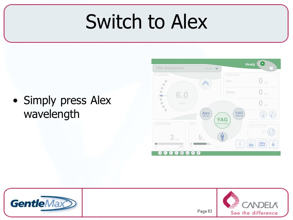 Switch to Alex Simply press Alex wavelength
