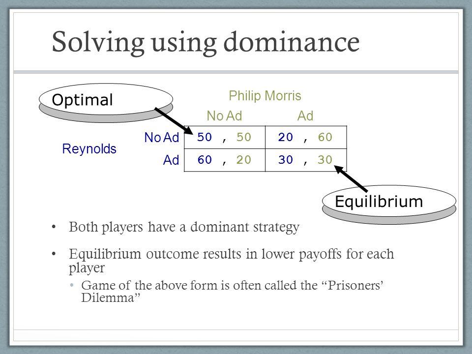 Solving using dominance