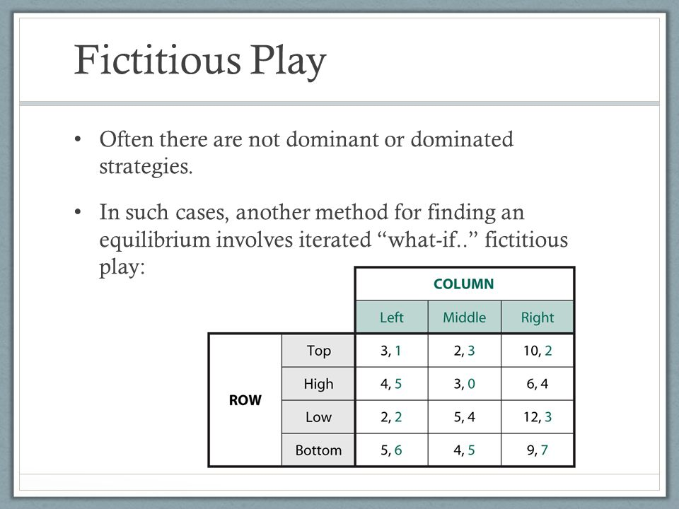 Fictitious Play Often there are not dominant or dominated strategies.