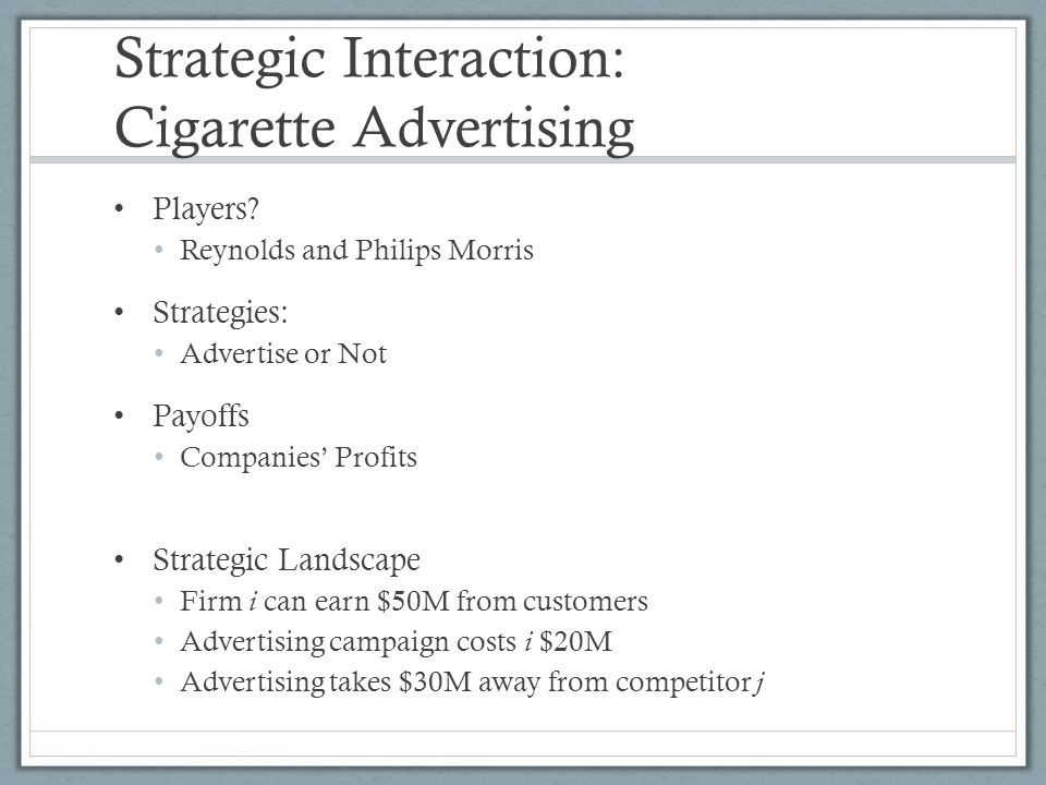 Strategic Interaction: Cigarette Advertising