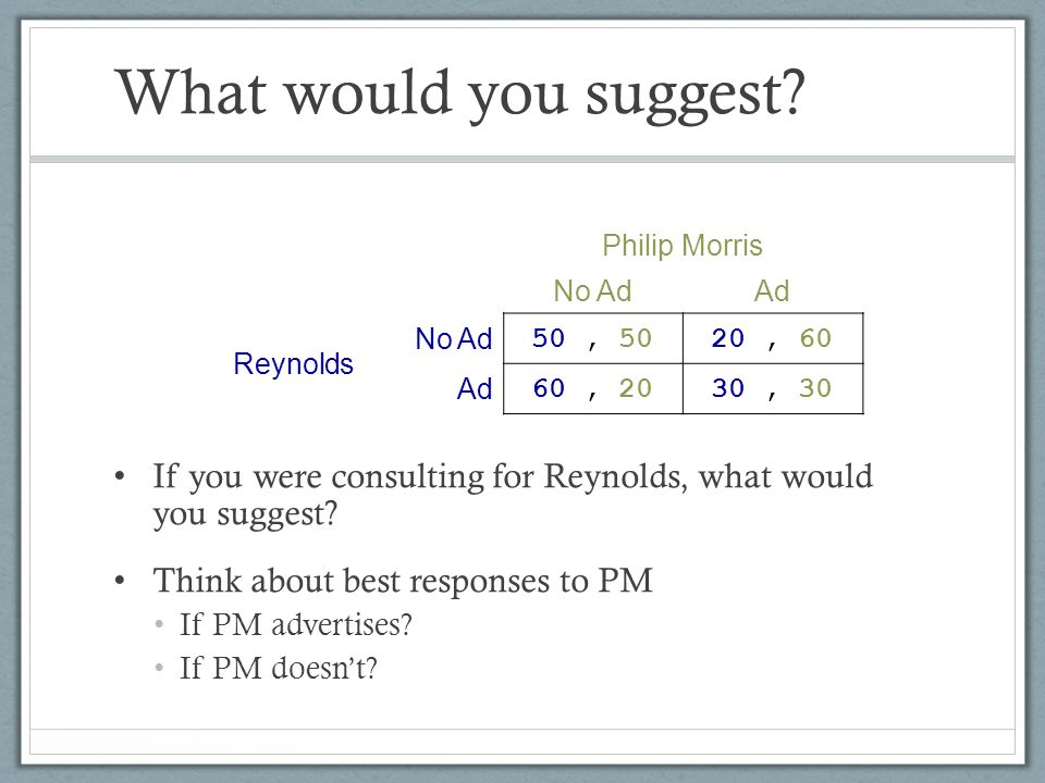 What would you suggest If you were consulting for Reynolds, what would you suggest Think about best responses to PM.