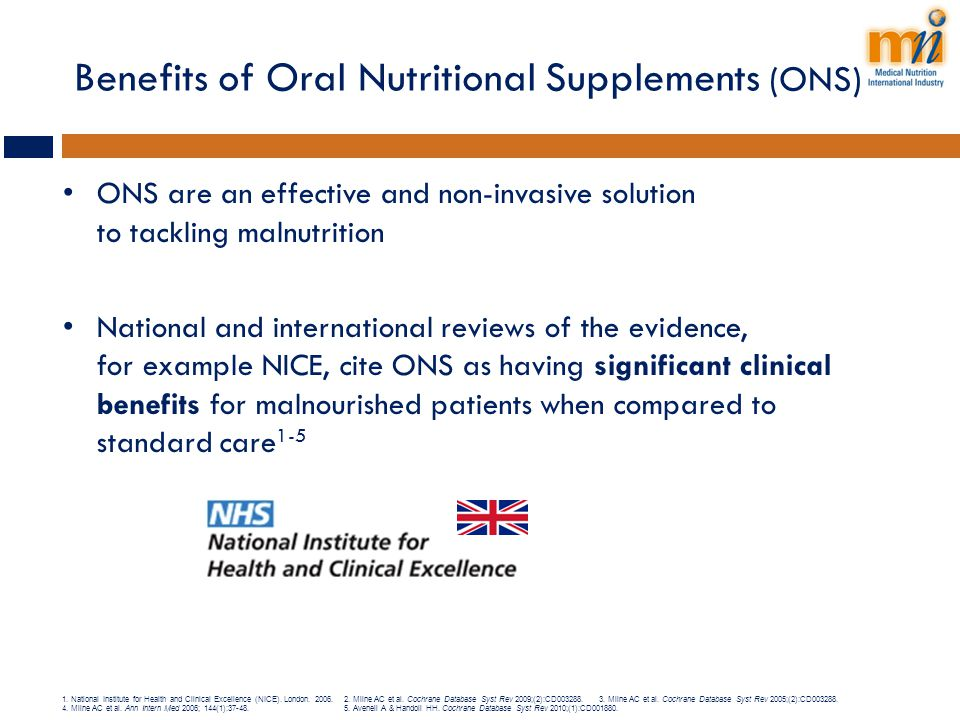 Benefits of Oral Nutritional Supplements (ONS)