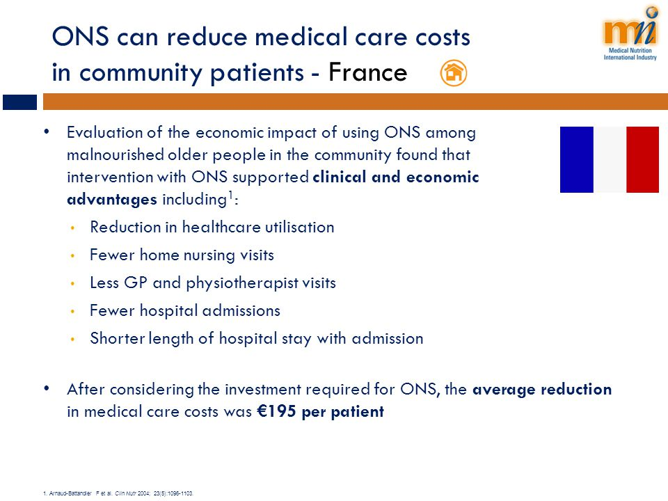 ONS can reduce medical care costs in community patients - France