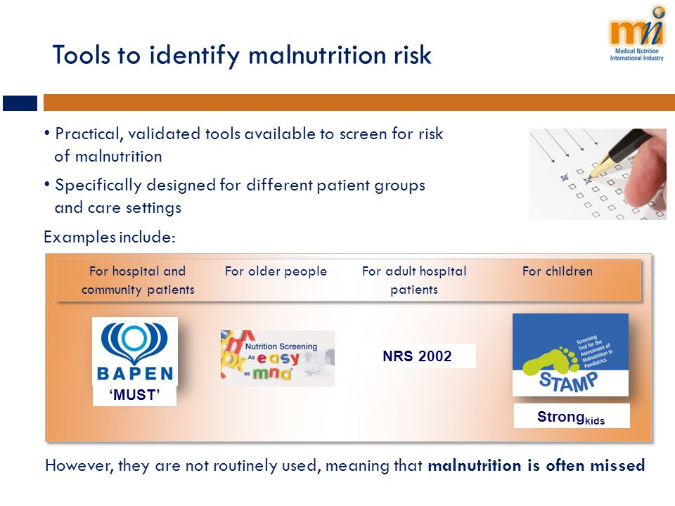 Tools to identify malnutrition risk
