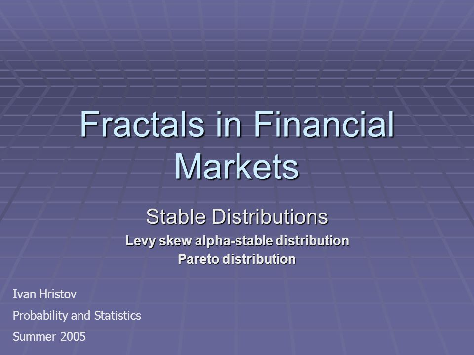 Fractals in Financial Markets