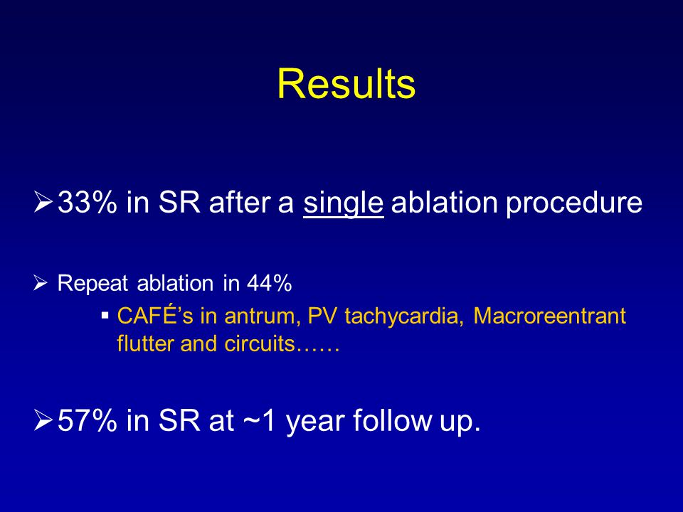 Results 33% in SR after a single ablation procedure