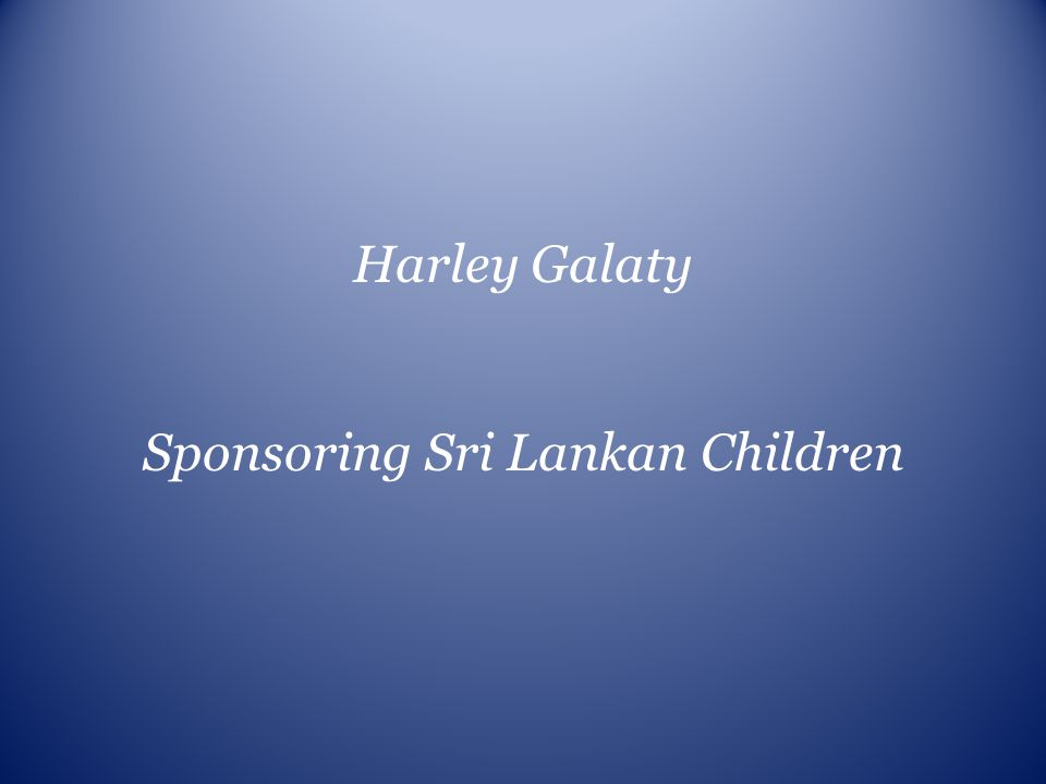 Sponsoring Sri Lankan Children