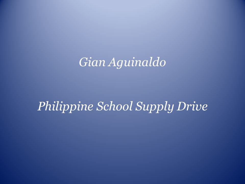 Philippine School Supply Drive
