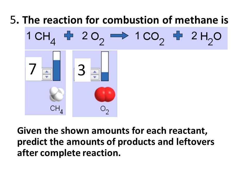 5. The reaction for combustion of methane is