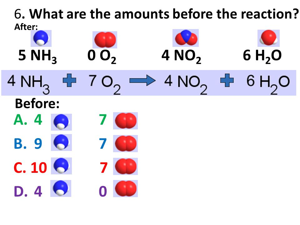 6. What are the amounts before the reaction