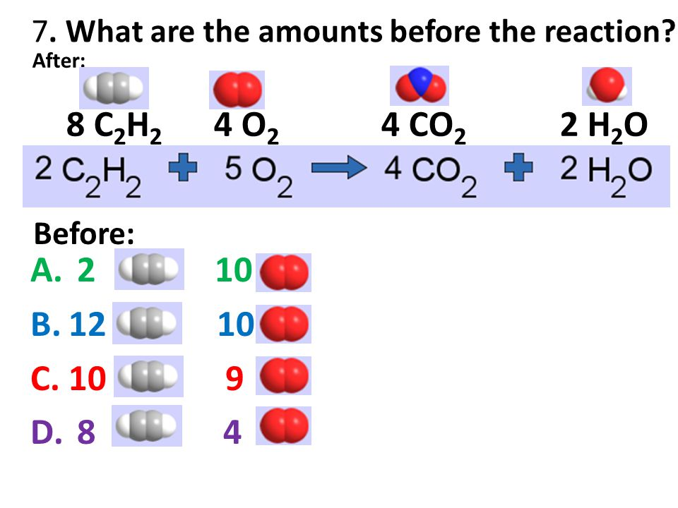 7. What are the amounts before the reaction