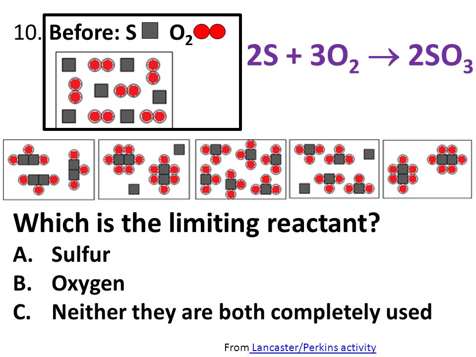2S + 3O2  2SO3 Which is the limiting reactant 10. Before: S O2
