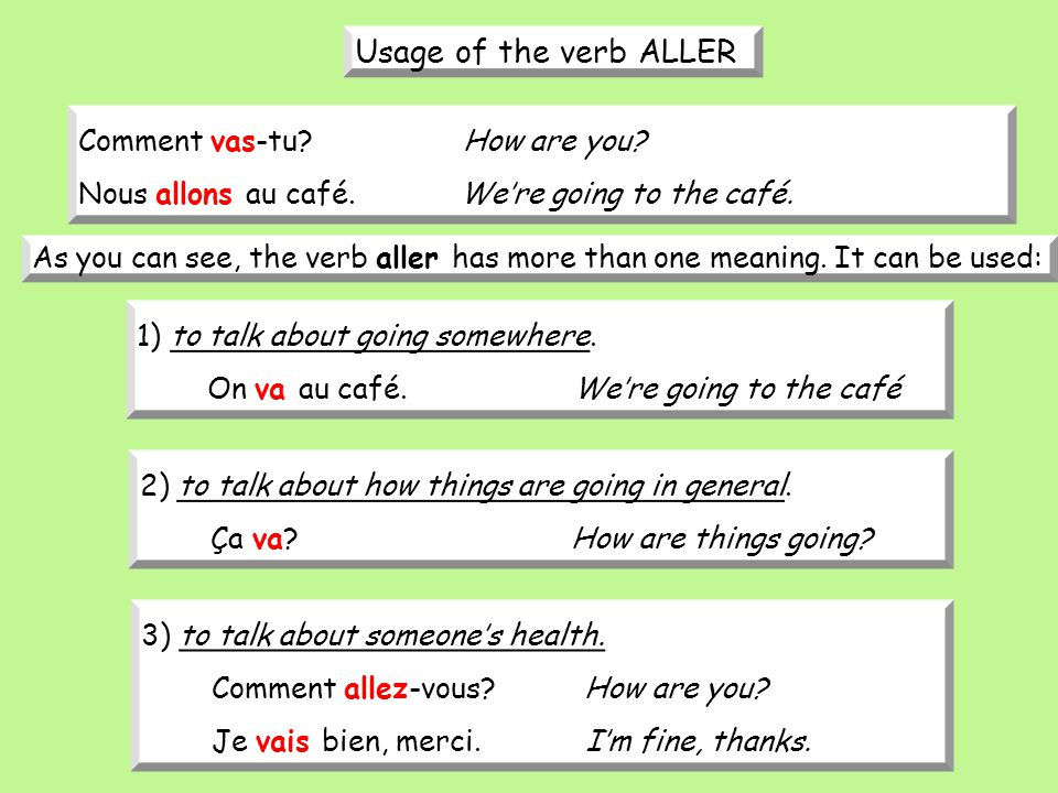 Usage of the verb ALLER Comment vas-tu How are you