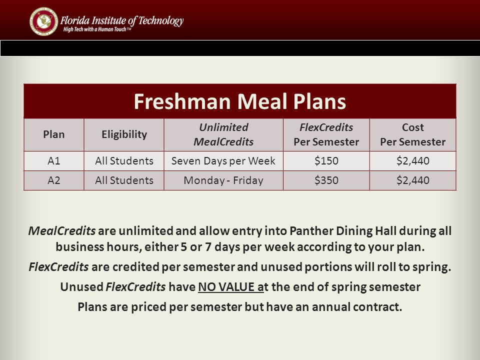 Freshman Meal Plans Plan. Eligibility. Unlimited MealCredits. FlexCredits Per Semester. Cost Per Semester.