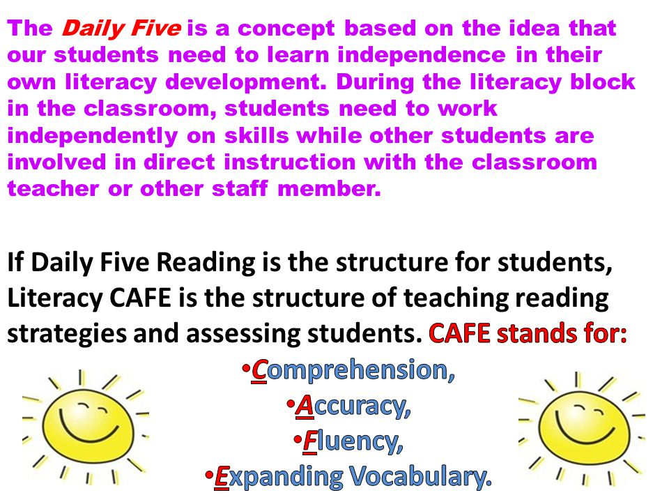 Comprehension, Accuracy, Fluency, Expanding Vocabulary.