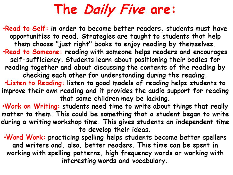 The Daily Five are: