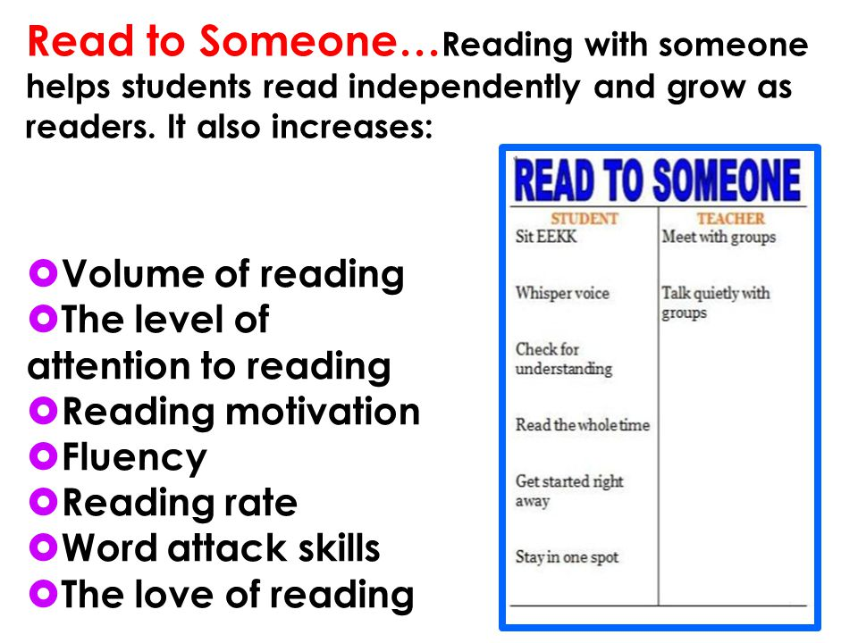 Read to Someone…Reading with someone helps students read independently and grow as readers. It also increases: