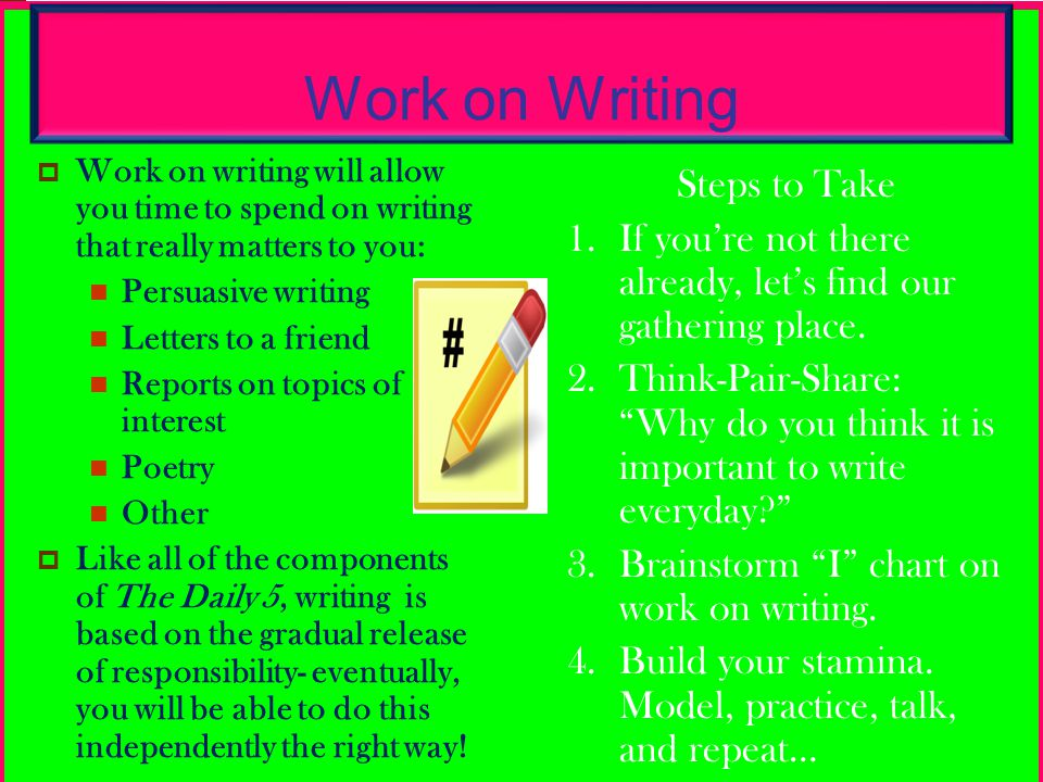 Work on Writing Steps to Take