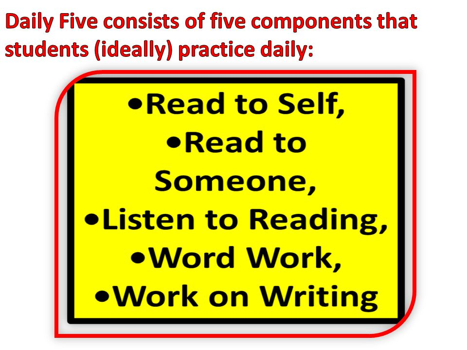 Daily Five consists of five components that students (ideally) practice daily: